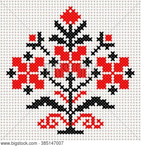 Vector National White And Red Belarus Floral Ornament. Slavic Ethnic Pattern. Embroidery, Cross-stit