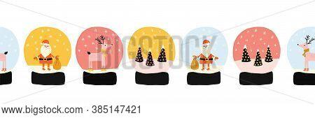 Christmas Snow Globes Seamless Vector Border. Snow Globes With Falling Snow, Santa Claus, Xmas Tree