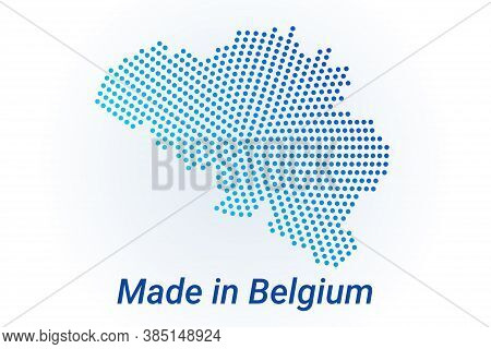 Map Icon Of Belgium. Vector Logo Illustration With Text Made In Belgium. Blue Halftone Dots Backgrou