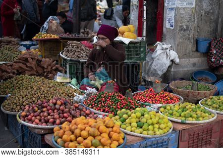 December 22 - Kathmandu, Nepal: Unidentified People Attends A Local Street Market To Buy And Sell Fr