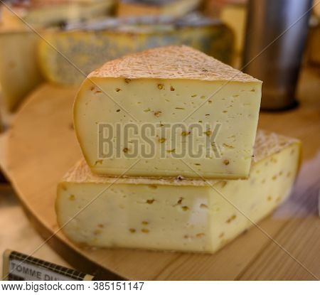 Farmer Shop In Poligny, Jura, France, Cheese For Sale, Lettering In French Means Tomme From Jura, Fa