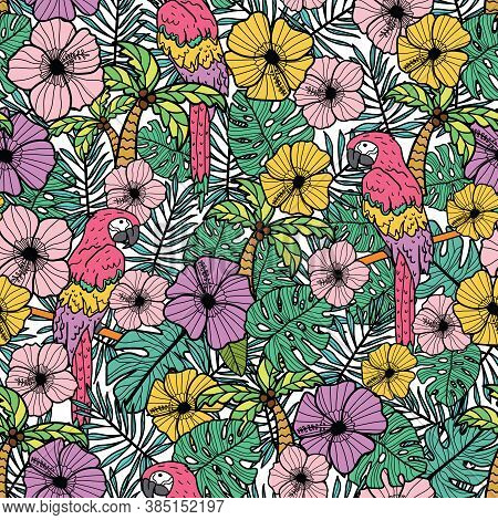 Tropical Hibiscus Flower With Palm, Parrots And Exotic Leaves. Vector Repeat Pattern. Great For Beac