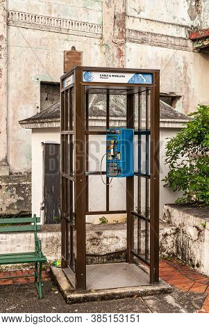 Panama City, Panama - November 30, 2008: Closeup Of Public Telephone Booth From Cable & Wireless Pan