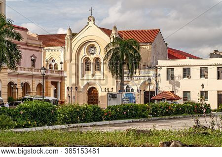 Panama City, Panama - November 30, 2008:  Yellow Building With Red Roof Of Sanctuario De La Esperanz