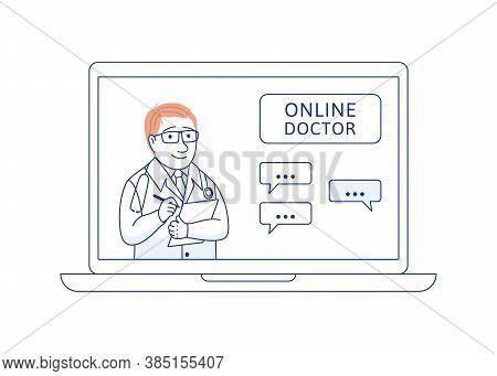 Doctor Online Thin Line Concept. Medical Consultation Support Internet Diagnosis. Telemedicine Web C