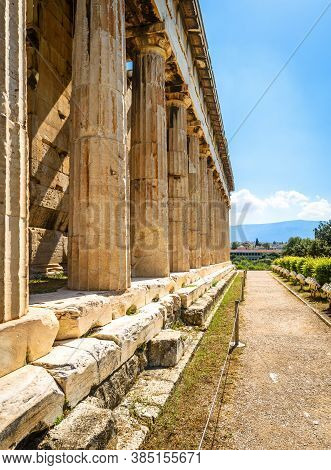 Temple Of Hephaestus In Ancient Agora, Athens, Greece. It Is Famous Landmark Of Athens. Perspective