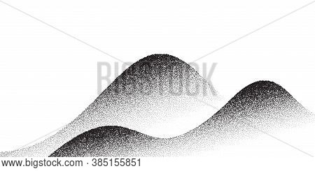 Dotwork Mountain Pattern Vector Background. Black Noise Stipple Dots. Sand Grain Effect. Dots Grunge