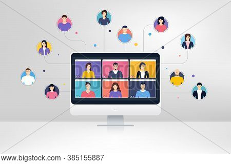 Remote Team Work From Home. Virtual Video Conference Screen. Online Home Learning. Characters Of Peo