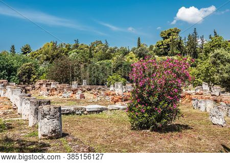 Landscape Of Ancient Agora In Summer, Athens, Greece. This Place Is Famous Tourist Attraction Of Ath