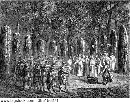 Gallic deputies swearing an oath on signs in the cerele of consecrated stones. Vintage engraving. From Popular France, 1869.