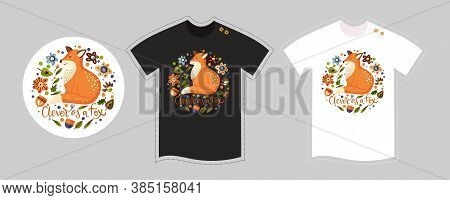 Vector T Shirt Design Vector Template For Kids And Adults On White And Black. Cute Woodland Detailed