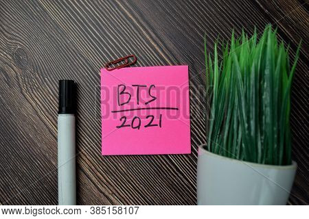 Bts 2021 Write On Sticky Notes Isolated On Office Desk.