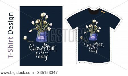 Vector T Shirt Design Vector Template For Kids And Adults. Cute Cotton Detailed Illustration. Textil