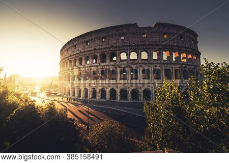 Colosseum in sunset time, Rome, Italy