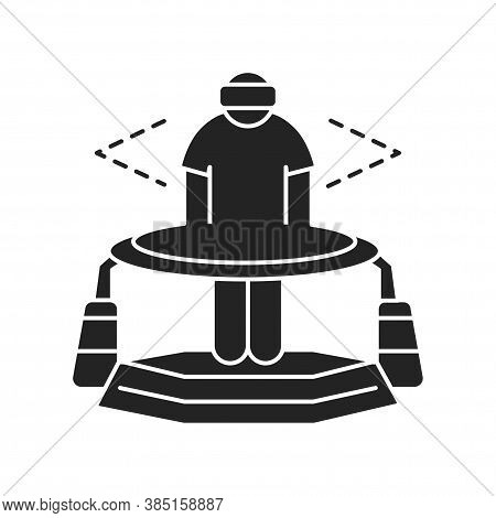 Virtual Reality Platform Black Glyph Icon. Man In Vr Helmet Gaming On Platform. Cyberspace, Simulati