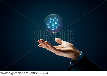 Catch Dream Team Human Resources Concept. Hand With Soap Bubble (symbol Of Dream) With Group Of Busi