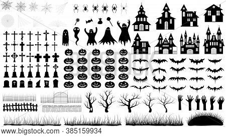 Set Of Vector Icons On Halloween. Collection Of Silhouettes. Happy Halloween Illustration.