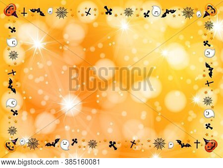 Colorful Halloween Background With Frame - 3d Render