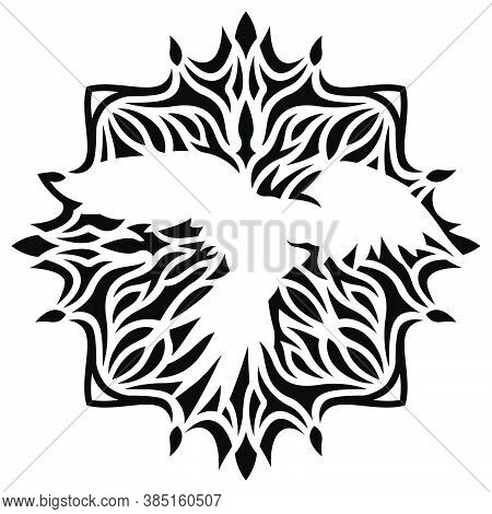 Beautiful Tribal Tattoo Illustration With White Parrot Silhouette On The Black Abstract Pattern