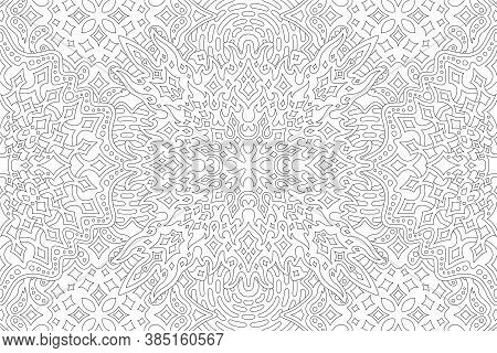 Beautiful Black And White Illustration For Adult Coloring Book Page With Rectangle Starry Linear Pat