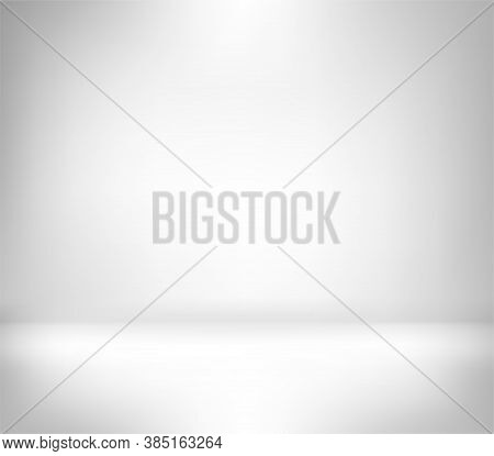 Empty Studio Background With Light And Shadow. White And Grey 3d Plain Gradient Background For Photo