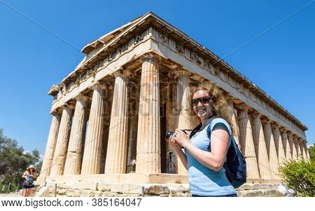 Temple Of Hephaestus In Ancient Agora, Athens, Greece. This Place Is Tourist Attraction Of Athens. F