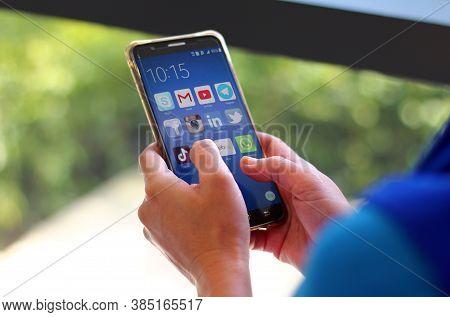 Kuala Lumpur, Malaysia - 15 August, 2020 : Social Media Apps On Mobile Smartphone Screen.