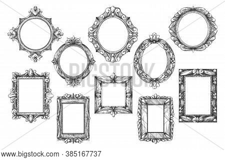 Picture Frame Sketch. Black-and-white Hand Drawn Vintage Art Gallery Icon Set Isolated On White. Old