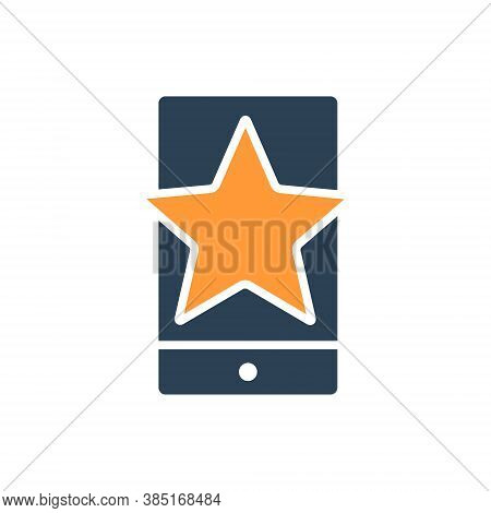 Star With Phone, Feedback Colored Icon. Mobile App Review, Add To Favorites, User Feedback Symbol