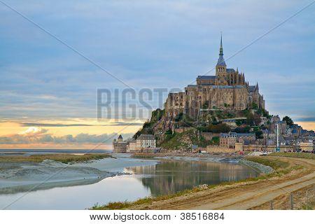 Mont Saint Michel at sunset , France