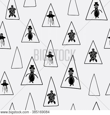 Vector Black And White Aquatic Seamless Pattern Background