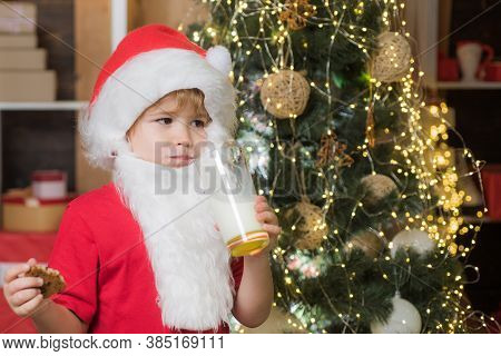 Happy New Year. Santa In Home. Little Santa Claus Kid With Beard And Mustache. Cheerful Santa Claus
