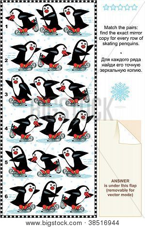 Christmas picture puzzle: Match the pairs - find the exact mirror copy for every row of skating penguins. poster