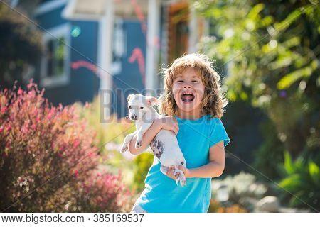 Happy Child Embraces Pet Dog. Embrace Tenderness Puppies. Hug Friends