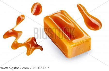 Set With Caramel Candies And Sauce On White Background. Caramel Toffee Melted Drops And Pieces