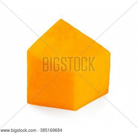One Pumpkin Piece  Isolated On White Background. Macro. Orange Autumn Pumpkin Chunk