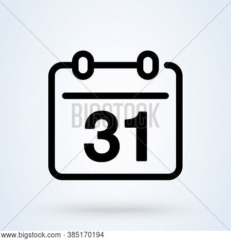 Calendar Or Date Sign Line Icon Or Logo. Date, Holiday, Important Day Concept. Date And Time, Linear