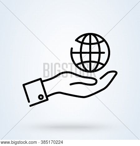 Hands Holding Earth Line Sign Icon Or Logo. Globe In Hand Concept. Hands Holding Globe Earth, Linear