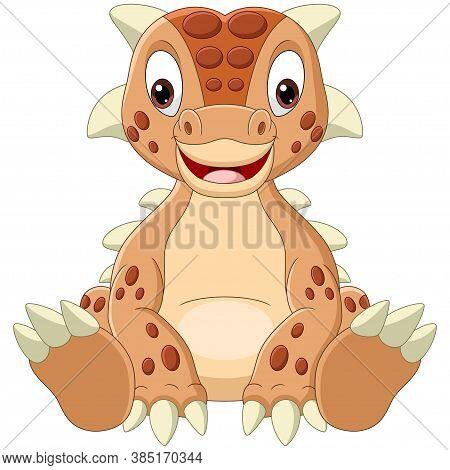 Vector Illustration Of Cartoon Baby Ankylosaurus Dinosaur Sitting