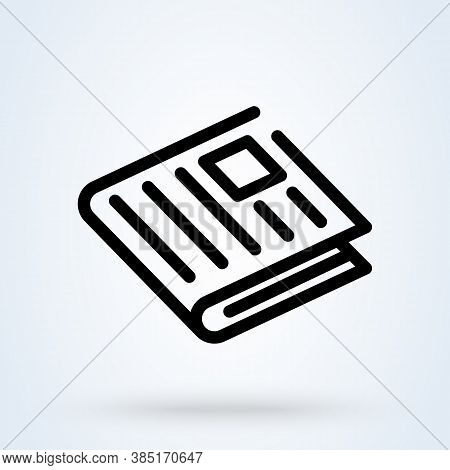 Newspaper Or News Paper Sign Icon Or Logo. Line Press Media Concept. Newspaper News, Linear Vector I