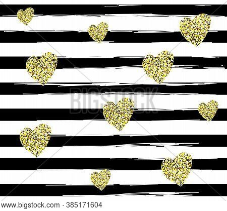 Pattern With Black Lines And Glitter Golden Hearts On White Background.