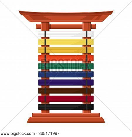 Rack For Karate Belts Isolated Vector Wooden Stand In Asian Style With Multicolored Crossbars. Acces