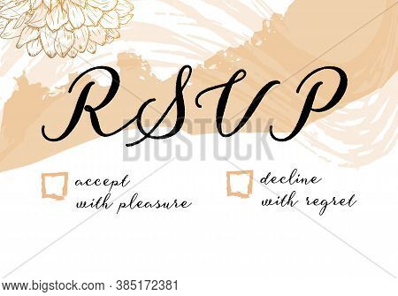 Rsvp Card For A Wedding Invitation, A Vector Design Template With Flowers And Brushstrokes, For Hot