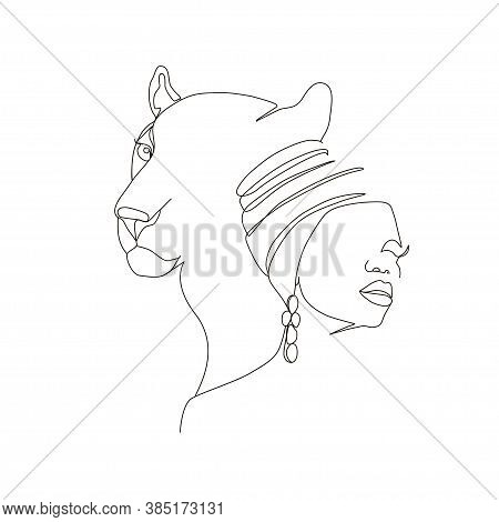 Continuous Line Art Or One Line Drawing. African Woman And Leopard Vector Illustration, нuman And An