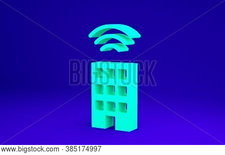 Green Smart Home With Wireless Icon Isolated On Blue Background. Remote Control. Internet Of Things