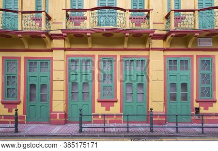 Exterior Of Portuguese Colonial Architecture In Macau, China