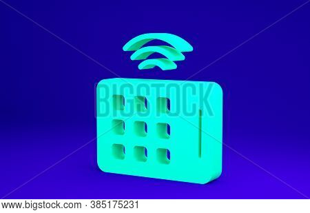 Green Wireless Tablet Icon Isolated On Blue Background. Internet Of Things Concept With Wireless Con