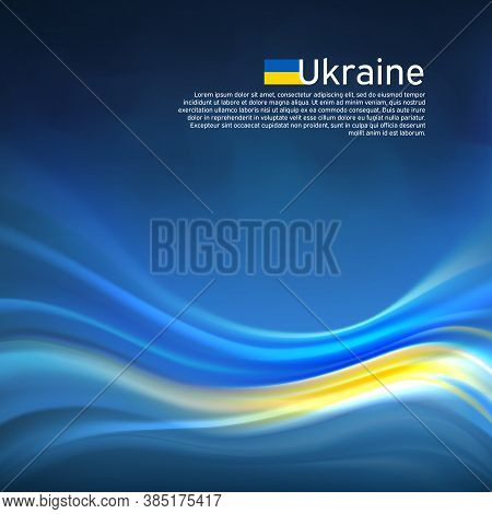 Ukraine Abstract Flag Background. Blurred Pattern Of Lines Of Light Colors Of The Ukrainian Flag In