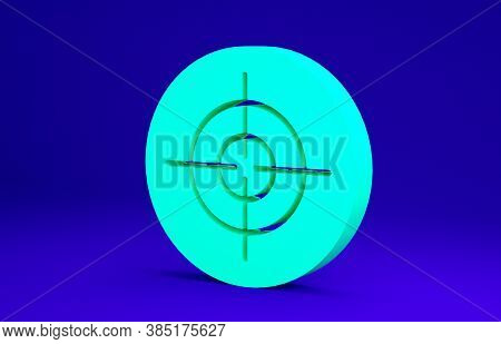 Green Target Sport Icon Isolated On Blue Background. Clean Target With Numbers For Shooting Range Or