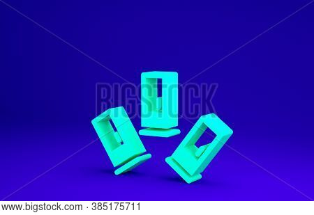 Green Cartridges Icon Isolated On Blue Background. Shotgun Hunting Firearms Cartridge. Hunt Rifle Bu